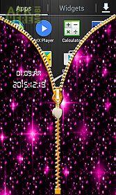 glitter zip screen lock