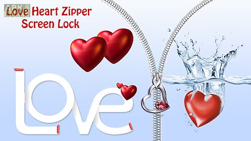 love heart zipper screen lock