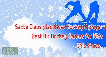 Santa claus play glow hockey 2 p..