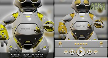 Poweramp skin yellow 3d