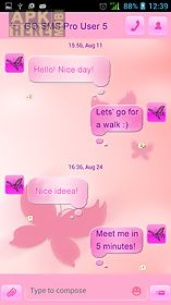 pink butterflies for go sms