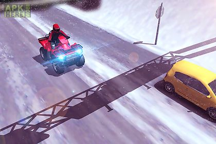 atv quad bike frozen highway