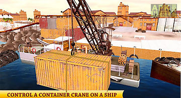Heavy crane cargo ship sim 3d