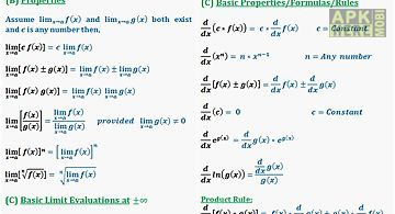 Calculus quick reference free