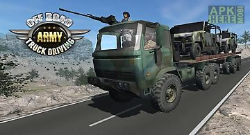 Off road army truck driving