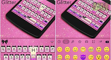 Pink glitter emoji keyboard