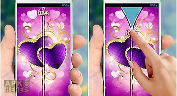 Purple love zipper lock screen
