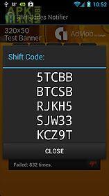 shift code notifier