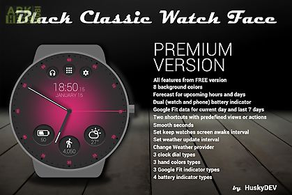Black classic watch face for Android free download at Apk Here store