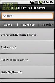 10,000 ps3 video game cheats! for Android free download at