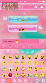 pink cloud emoji keyboard skin