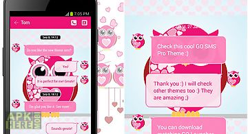 Pink hearts owls go sms theme