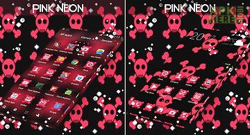 Pink neon glow skulls go