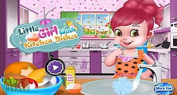 Girl wash kitchen dishes