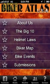 Biker Atlas Usa App For Android Description Nationwide Calendar Of Biker Events Updated Helmet Laws And A Gps Guided Biker Map Preloaded With Points Of