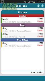 bills free - expense monitor
