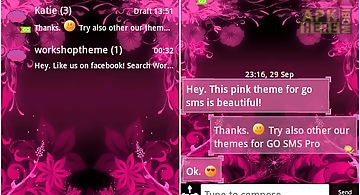 Theme pink flower go sms