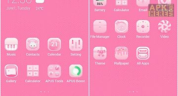 Pink girl-apus launcher theme