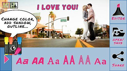 text on pics write on photos
