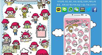 Cute girl rainy sticker pack