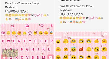 Pink rose emoji keyboard theme